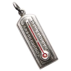 Sterling THERMOMETER Vintage Estate Charm - Hot Temperature WOW!