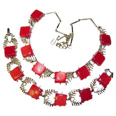 Fabulous CORO Red Thermoset Plastic Vintage Necklace Set