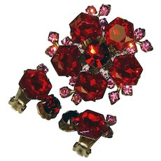 Fabulous HEXAGON Shape Red Rhinestone Vintage Brooch Set