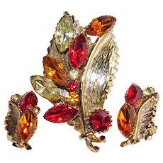 Gorgeous AUTUMN FALL Colors Rhinestone Leaf Brooch Set