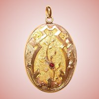Fabulous Antique LOCKET Ornate Design with Red Stone