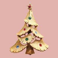 Awesome CHRISTMAS TREE JJ Jonette Rhinestone Brooch - Holiday