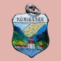 800 Silver & Enamel KONIGSSEE Charm - Souvenir of Germany - Travel Shield