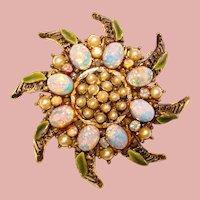 Fabulous OPAL GLASS Enamel Faux Pearl Vintage Brooch