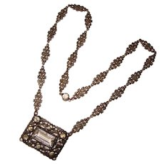 Fabulous ART DECO Clear Glass Stones Fancy Link Necklace