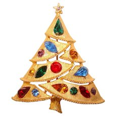 Fabulous CHRISTMAS TREE JJ Jonette Color Shapes Rhinestone Brooch – Holiday