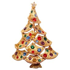 Fabulous CHRISTMAS TREE JJ Jonette Rhinestone Brooch – Holiday