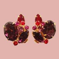 Fabulous RED & PINK Vintage Rhinestone Clip Earrings