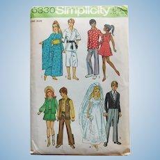 Vintage Simplicity Barbie & Ken Pattern - Uncut - Kimono Wedding Dress Cowboy Cowgirl Karate