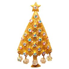 Gorgeous Signed MYLU Aurora Rhinestone Crystal Dangles Vintage Christmas Tree Brooch