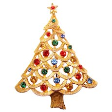 Gorgeous CHRISTMAS TREE Color Rhinestone Vintage Brooch