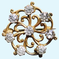 """Small Antique Clear Stone Mini Sash Pin Brooch - 1"""" - For Your Doll"""