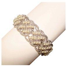 Gorgeous TRIFARI Signed Faux Pearl Basket Weave Design Vintage Bracelet