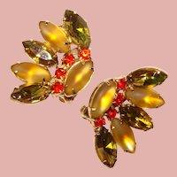 Fabulous FALL COLORS Vintage Rhinestone Clip Earrings