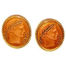 Awesome Enamel Design Vintage Cufflinks – Roman Head with Wreath