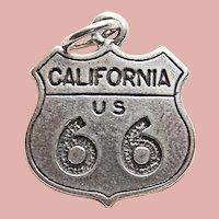 Sterling ROUTE 66 Vintage Estate Charm - Souvenir of California