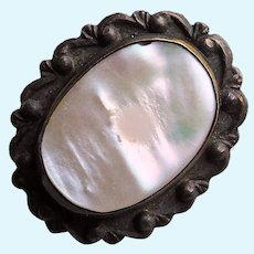 """Tiny Antique Mother of Pearl Mini Sash Pin Brooch - 11/16"""" by 9/16"""" For Your Doll"""