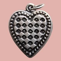 Sterling 1940s PUFFY HEART Patterned Vintage Estate Charm - Beaded Edge
