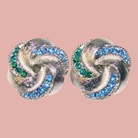 Gorgeous BLUE & GREEN Rhinestone Vintage Clip Earrings