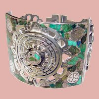 Fabulous MEXICAN STERLING Stone Inlay Vintage Bracelet – Signed & Numbered TAXCO