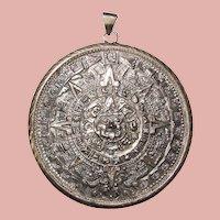 Fabulous MEXICAN STERLING Huge Vintage Pendant - Aztec Calendar