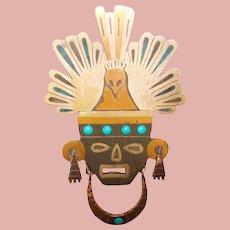 Fabulous TOÑO Tono Piedra Negra Taxco Warrior Design Vintage Brooch