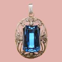 Fabulous STERLING Blue Faceted Stone Vintage Pendant