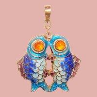 Fabulous STERLING Enamel Fish Design Pendant