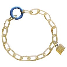 Awesome Celluloid Chain Bracelet With Early Plastic House Charm
