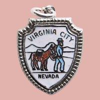 Sterling & Enamel VIRGINIA CITY Charm - Souvenir of Nevada - Travel Shield