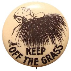Keep off the Grass BEARDED MAN Vintage Pin Back