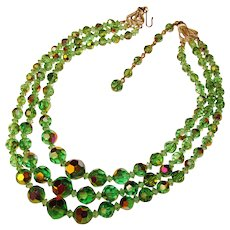 Gorgeous GREEN AURORA Crystal 3 Strand Vintage Necklace
