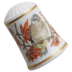 Vintage SONGBIRDS Bird Porcelain Estate Thimble
