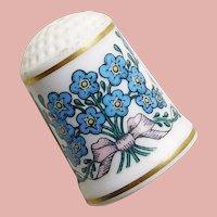 Vintage FORGET ME NOT Flowers Porcelain Estate Thimble