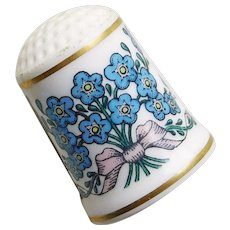 Vintage FORGET ME NOT Flowers Porcelain Estate Thimble