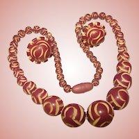 Fabulous Purple CARVED CELLULOID Art Deco Vintage Necklace Set