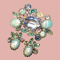 Fabulous BLUE Rhinestone Vintage Brooch Set