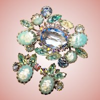 Fabulous BLUE Rhinestone Vintage Brooch Set
