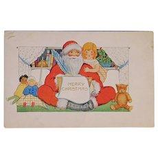Santa & Girl with Dolls and Teddy Bear Christmas Postcard