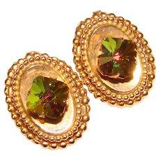 Fabulous SQUARE RIVOLI Green & Amber Rhinestone Vintage Clip Earrings