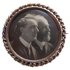 Handsome Gentlemen Men VICTORIAN Antique Photo Portrait Brooch - Father & Son