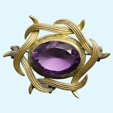 """Tiny Antique PURPLE GLASS Mini Sash Pin Brooch - 1 1/8"""" by 7/8"""" - For Your Doll"""