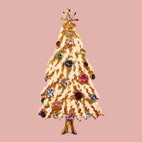 Fabulous CHRISTMAS TREE Enamel Color Rhinestone Pendant