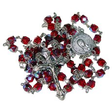 Fabulous RED AURORA Glass Vintage Rosary