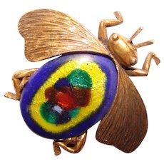 Fabulous INSECT Bug Vintage Figural Enamel Brooch