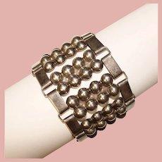 Fabulous MEXICAN STERLING Heavy Wide Design Vintage Bracelet