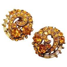 Fabulous HOLLYCRAFT Amber & Yellow Rhinestone Copr. 1955 Earrings