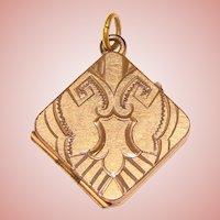 Gorgeous Antique Engraved Pattern Square Shaped Locket