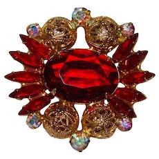 Fabulous D&E JULIANA Red & Aurora Rhinestone Vintage Brooch - with Filigree Spheres