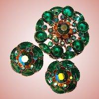 Fabulous GREEN & Green Aurora Rhinestone Vintage Brooch Set